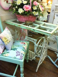 old sewing table legs, old window top!