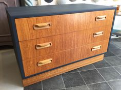 Mid century, retro, G Plan Fresco chest of drawers painted in Autentico Nearly Black.