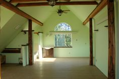 This is the basic style I like- whitewashed/creamy walls and exposed rafters
