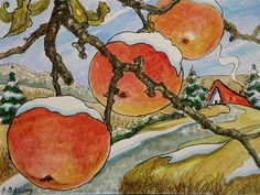 """""""Last of the Vermont Apples Storybook Cottage Series"""" - Original Fine Art for Sale - © Alida Akers"""