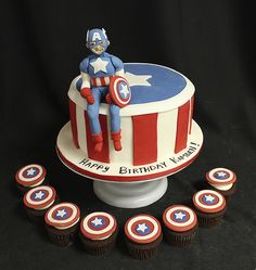 Captain America Cake Cupcakes | Kids: Captain America, Shiel… | Flickr