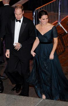 Pin for Later: Kate Middleton Saved Her Best NYC Look For Last And Kate Lifted Her Gown as She Climbed the Stairs
