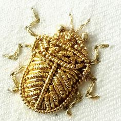 Shield bug - my biggest challenge today - is finally done. Beaded Embroidery, Hand Embroidery, Shield Bugs, Fairytale Dress, Gold Work, Fireflies, Metal Working, Seed Beads, Needlework