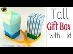 """Origami Tutorial to make a paper """"Tall Gift Box with Lid"""" ♥ Gift Boxes With Lids, Box With Lid, Origami Box Tutorial, Origami Heart, Paper Crafts, Diy Crafts, Paper Gift Box, Diy Box, Crafty"""
