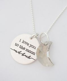 This FIVE Sterling Silver 'I Love You to the Moon' Pendant Necklace by FIVE is perfect! #zulilyfinds
