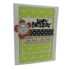 Birthday Card  Handmade  Lime Polka Dots  by EmbellishbyJackie, $3.00