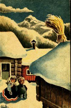 Julekort AUKRUST, KJELL. Barn ser på julenek Utg Mittet Stemplet 1940 Christmas Postcards, Christmas Cards, Simple Christmas, Vintage Postcards, Norway, Barn, Painting, Pictures, Christmas E Cards