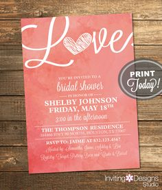 Watercolor Bridal Shower Invitation, Love, Art, Coral, Salmon, Retro, Printable File (Custom Order, INSTANT PROOF) by InvitingDesignStudio on Etsy