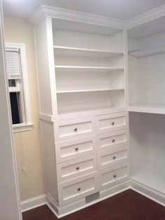 Great tips for master closet built-ins. How-tos for drawer, shelves, etc.