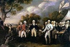 The Battle of Saratoga was the turning point of the war. British surrenders to Colonial forces led by Horatio Gates.
