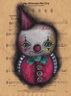 Clown  Original Painting,  Lowbrow art, pop surrealism, party decoration, nursery decoration, baby room , kids room, baby clown, abril andrade, gothic art , FOR SALE