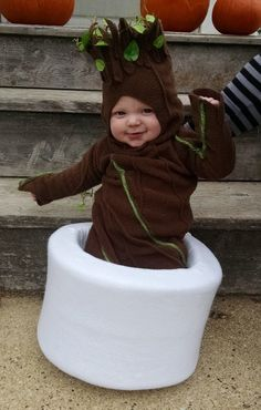 Baby Groot costume :) I don't know where to pin it. I just know its too adorable not to.