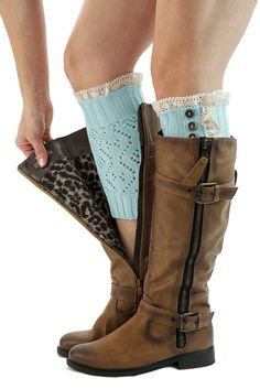 Boot Cuffs Vintage 3 Button Style Women's Boutique Socks Brand by Modern Boho Aqua at Amazon Women's Clothing store: