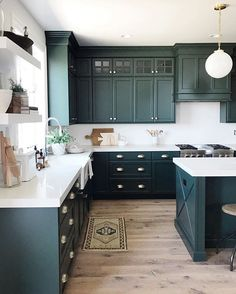 If you are looking for Green Kitchen Cabinets Design Ideas, You come to the right place. Here are the Green Kitchen Cabinets Design Ideas. Home Decor Kitchen, Diy Kitchen, Home Kitchens, Kitchen Themes, Awesome Kitchen, Kitchen Ideas Color, Kitchen Wrap, Kitchen Layouts, Condo Kitchen