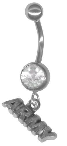 U.S. Army Pewter Military Belly Ring with Clear Jeweled Barbell-Stainless Steel 14 gauge 3/8 Post-Military Belly Button Ring-Navel Ring BodySparkle Body Jewelry,http://www.amazon.com/dp/B007W5VFAU/ref=cm_sw_r_pi_dp_H4nfsb0TZJ0WKYNF #army #bellyring
