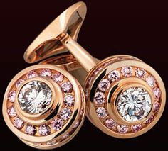 Leviev White and Pink Diamond Cufflinks: totaling 3.14 carats, handcrafted in 18 karat pink gold.