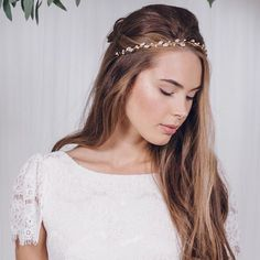 The India headband - now available in gold (pictured) and rose gold as well as the more traditional silver! This design mixes super-sparking Swarovski crystals with delicate freshwater pearls and vines with detachable ribbons which mean you can tie it in Wedding Inspiration from Debbie Carlisle