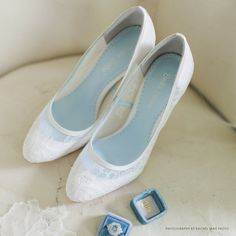 Classic Chantilly Lace Wedding Shoes Closed Toe Pumps with Something Blue Lining Bridal Shoes Bella Belle Shoes Millie Wedding Pumps, White Wedding Shoes, Lace Wedding, Wedding Beauty, Dream Wedding, Wedding Dresses, Lace Bridal Shoes, Bride Shoes, Belle Bridal