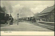 Eidanger jernbanestation Telemark fylke Damplokomotiv tidlig 1900-tall