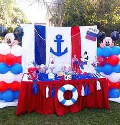 Tadeo Sailor Birthday, Sailor Party, Sailor Theme, Baby Boy First Birthday, Fiesta Baby Shower, Baby Shower Parties, Baby Boy Shower, Nautical Mickey, Nautical Party