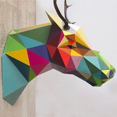 Buck Syntetic enamel on Fiberglass / / gallery in / this weekend october in Leizpig. Germany by okudart 3d Paper Art, 3d Paper Crafts, Paper Toys, Diy And Crafts, 3d Templates, Okuda, Geometric Sculpture, Modelos 3d, Paper Animals