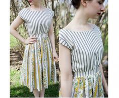 This vintage-inspired dress is so charming! Sassy Sparrow shows how you can make one. You can make one in any size, based on your measurements. It's so fun made up from two different print…