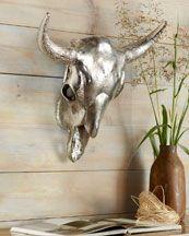 Silver Cow's Skull Wall Decor