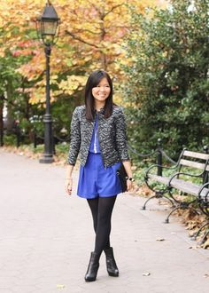 Style a romper for Fall by adding tights, jacket, and ankle boots.