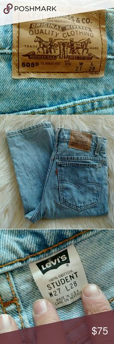 Light wash vintage high waist Levi's Beautiful little light wash 505's.  Look to be in brand new condition.  100% cotton, perfect vintage.  I love the 505!  One of my favorite styles!  Measurements coming soon. Size 24-25 Levi's Jeans
