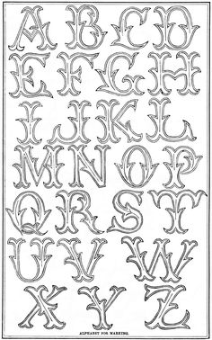 Antique embroidery alphabet - Vintage Crafts and More - . Antique alphabet for embroidery – vintage crafts and more – Antique alphabe Alphabet Graffiti, Graffiti Lettering Fonts, Tattoo Lettering Fonts, Creative Lettering, Typography, Lettering Styles, Chicano Lettering, Embroidery Alphabet, Embroidery Monogram