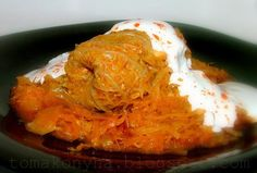 This is Töltött káposzta. It is a cabbage leaf filled with meat and rice in a paprika sauce. Paprika Sauce, Cabbage Leaves, Hungarian Recipes, Pork Recipes, Cauliflower, Food And Drink, Low Carb, Dishes, Meat