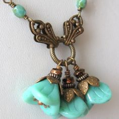 25 Off Sale Turquoise flower necklace victorian by southwinddesign, $21.00