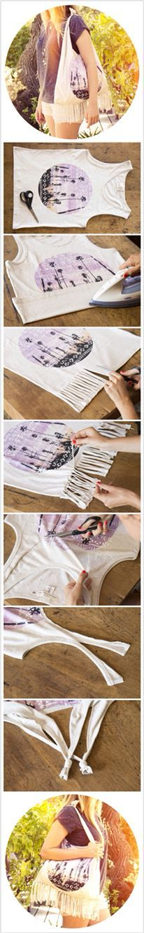Recycling is always a good thing, especially when it comes to using your old garments. Here are few ideas to turn your old T-shirts into jewelry etc. Hobbies And Crafts, Diy And Crafts, Arts And Crafts, Sewing Crafts, Sewing Projects, Projects To Try, Recycling, Diy Tank, Creation Couture