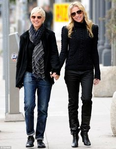walking hand in hand with pride to be together and have so much joy and happiness being together and in love with each other like #ellen and #portia <3