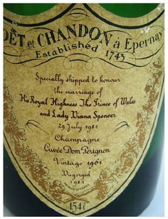 Moet and Chandon from the wedding of PrincessDiana and Prince Charles Cristal Champagne, Best Champagne, Prince Charles, Letter Find, Dom Perignon, Letter Rack, Wine Gift Baskets, Princes Diana, Types Of Wine