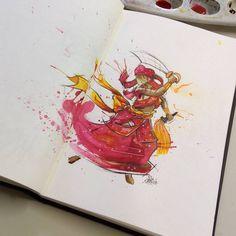 Iansã watercolo sketchbook churus savioli