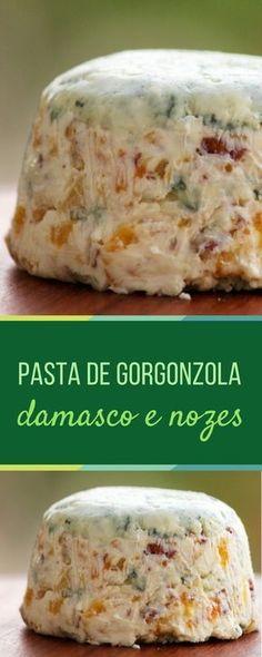 Pasta de gorgonzola, damasco e nozes - Uma deliciosa opção para você servir como entrada. Receba os amigos, sirva essa pasta com pães, e um bom vinho.Confira a receita!