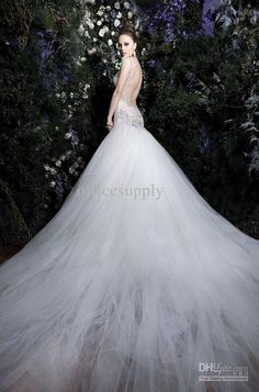 Mermaid Lace Tulle Backless Wedding Dresses with Cathedral Train...