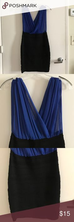 Evening dress Blue/Black evening dress. Top is see through, looks cute with a black bandeau under, bottom hugs like a pencil skirt. Forever 21 Dresses Backless