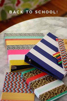 DIY School Supplies You Need For Back To School - School Supply Makeover With Tape - Cuter, Cool and Easy Projects for Teens, Tweens and Kids to Make for Middle School and High School. Fun Ideas for B (Cool Teen Washi Tape) Diy Edible School Supplies, School Supplies Organization, Back To School Supplies, Desk Organization, Washi Tape Crafts, Duck Tape Crafts, Diy Crafts, Tapas, Diy Back To School