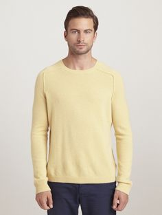 INHABIT Mens Tipped Cashmere Crew - Yellow