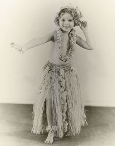 Costume test for Captain January, 1936.  This was supposed to be the original costume worn by Shirley in Captain January, but it was later dismissed due to being too suggestive and instead she was dressed in a sailor suit. The trousers she wore instead of this grass skirt still caused a lot of controversy.