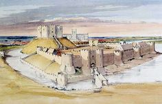 York Castle as it might have appeared in the early century after the building of the stone tower. The tower and outworks in the foreground were added in (English Heritage) York Castle, Castle Illustration, Cities, English Castles, Fantasy Castle, Fantasy Art, English Heritage, Medieval Castle, 14th Century