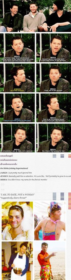 """Can I just say that it bothers me that the women on this show don't last long """"because the fandom isn't very welcoming of them""""? It really does bug me… Annnd here's some Misha in drag."""
