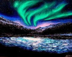 MonikaWinterArt on Etsy Light Painting, Nordic Art, Photorealism, Natural Phenomena, Aurora Borealis, Landscape Paintings, Northern Lights, Awesome, Etsy