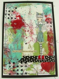 Gorgeous card made with Gelli prints. Love the use of washi tape to create the ground for the girl - very clever!! More details and in-process pics here ~ http://asprinkleofimagination.blogspot.com.au/2013/11/messy-monoprinting.html ~ a sprinkle of imagination: Messy Monoprinting!