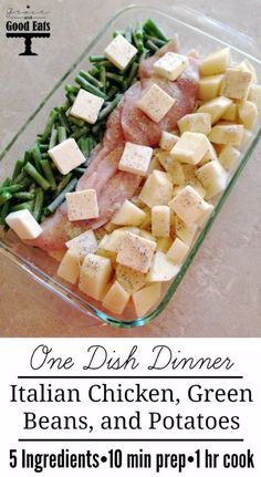 One dish dinner! Italian chicken, green beans, and potatoes. 5 ingredients, easy and delicious! Will make this again for sure (quick easy dinner 5 ingredients) Green Beans And Potatoes, Chicken With Green Beans, Chicken Green Beans Crockpot, Baked Chicken With Vegetables, Chicken And Vegetable Bake, Russet Potatoes, Orange Chicken, Veggie Food, One Dish Dinners
