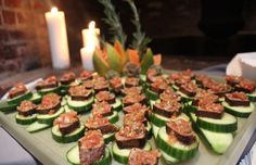 Chili dusted tuna on cucumber rounds with tamatillo salsa from one of our faves Chef Rossi from The Raging Skillet! http://theragingskillet.com/
