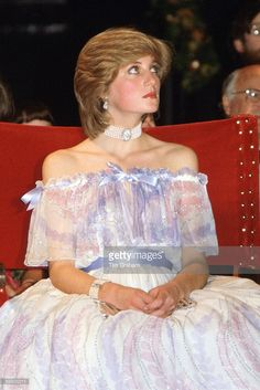 Princess Diana, Princess of Wales at the V&A Museum attending the 'Splendours of the Gonzagas' exhibition wearing a dress designed by fashion designers Bellville Sassoon.