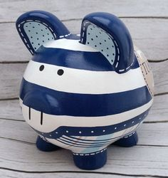 Rugby Striped Monogram Personalized Piggy Bank in Navy, Tan and Blue Personalized Piggy Bank, Personalized Gifts, Rugby, Penny Bank, Robots For Kids, Piggy Banks, Robot Design, Baby Coming, Custom Items